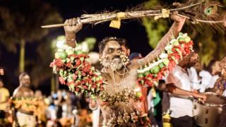 Nan pierced with spikes, flowers and limes dances during the annual Hindu Thaipoosam Kavady near Durban, South Africa - Monday 21 January 2019