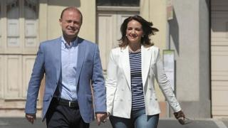 Maltese PM Joseph Muscat and wife Michelle, 3 June 2017, on the way to vote