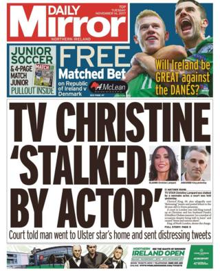 Front page of the Daily Mirror, Tuesday 14 November 2017