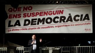 Вице-президент Каталонской автономии Ориоль Хункерас на митинге