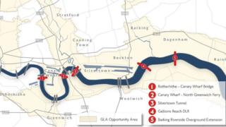 Map showing proposed Thames river crossings
