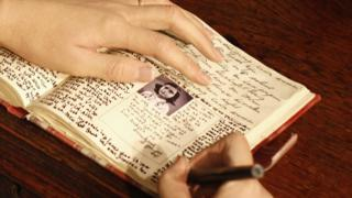 A detail of Anne Frank's diary at Madame Tussaud's Berlin