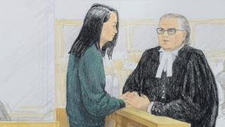 2018年12月10日保释聆讯法庭画像,孟晚舟与律师交谈