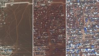 Satellite images from 27 September 2017 (left), 26 September 2018 (centre) and 2 December 2019 (right) showing a camp for displaced people in northern Idlib province, Syria