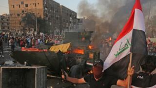 من مظاهرات #العراق المستمرة منذ مطلع شهر أكتوبر تشرين الأول