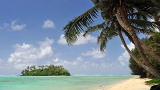 A sandy beach on the Cook Islands