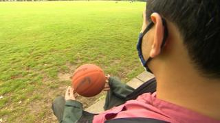 sports 'Shiv' with a basketball in the park