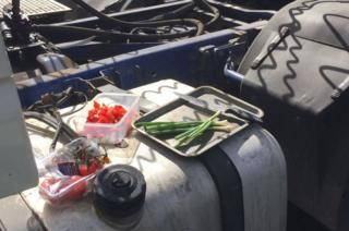Lunch being made on lorry on the M25