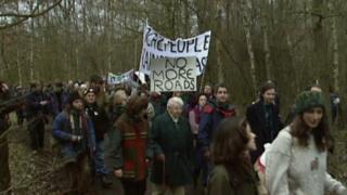 Protestors at Newbury in 1995