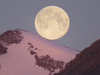 The moon above Buachaille Etive Beag in Glencoe