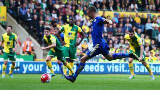 Vardy scores against Norwich