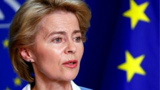 German Defense Minister Ursula von der Leyen briefs the media at the EU Parliament in Brussels, 10 July 2019