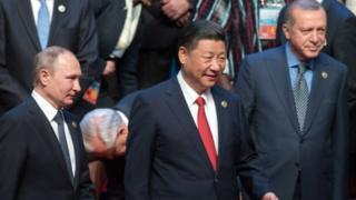 شی جنپنگ کے ساتھ پوتن اور اردوغان