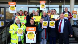 School crossing patrol protest at the Civic Centre, Ebbw Vale
