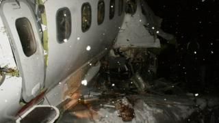 Les restes d'un avion écrasé (illustration).