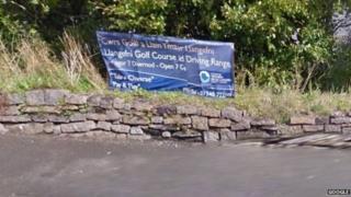 arwydd cwrs golff Llangefni