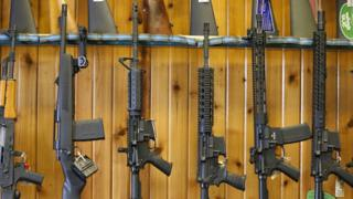 "Semi-automatic AR-15""s are for sale at Good Guys Guns ^ Range on February 15, 2018 in Orem, Utah"