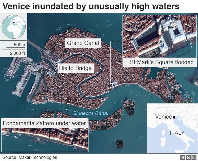 Flooded Venice - satellite image