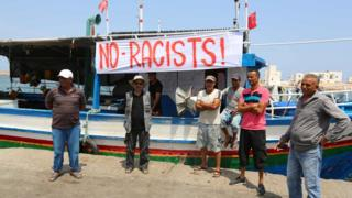 Tunisian fishermen in Zarzis protest against arrival of C-Star