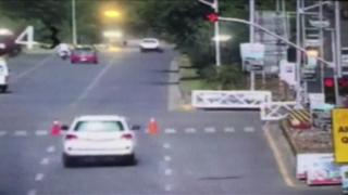 CCTV footage shows the white SUV jumping the light in Islamabad