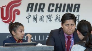 Mostrador de China Air en Pekín.