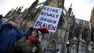 Women's rights protest in Cologne, 9 Jan 16