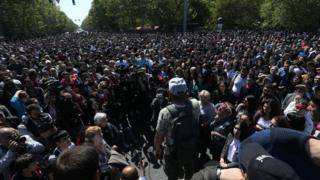 A crowd of protesters in the Armenian capital of Yerevan