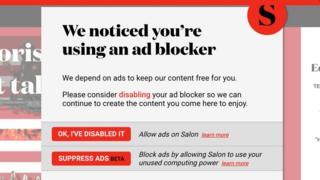 Salon adlı internet sitesi okurlarına bir tercih sunuyor: Ya reklam engelleyicinizi kapatın ya da sitenin bilgisayarınızı kullanarak kripto para üretmesine izin verin