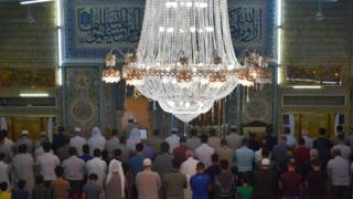 Muslims perform the first 'Tarawih' prayer on the beginning of the Islamic Holy month of Ramadan in Iraq
