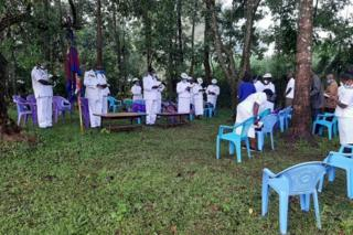 Mourners at Chris' funeral in western Kenya