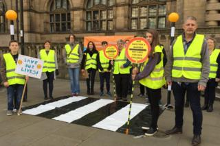 Campaigners set up a fake zebra crossing outside Sheffield Town Hall