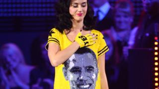 Katy Perry in a Barack Obama print dress