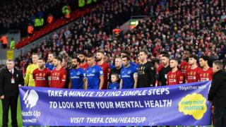 Liverpool and Everton at FA Cup Game supporting Heads Up