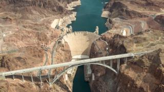 An aerial view of the Hoover Dam