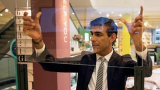 Chancellor Rishi Sunak on a visit to a shopping centre