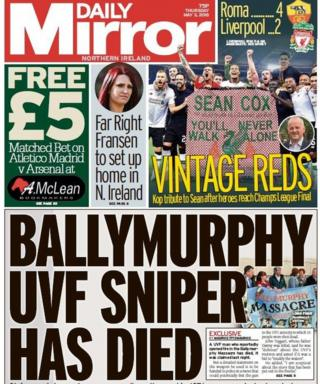 Front page of the Daily Mirror on Thursday