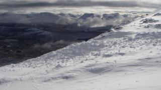 Avalanche debris in Glen Coe