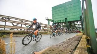Riders passing over Keadby Bridge in North Lincolnshire