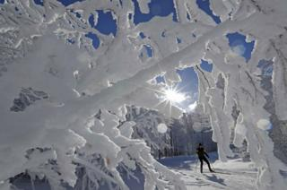 A cross-country skier enjoys a cold and sunny winter's day at the Champ du Feu near Strasbourg, France