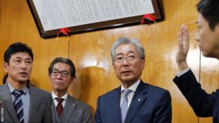Tsunekazu Takeda announces his resignation to the media