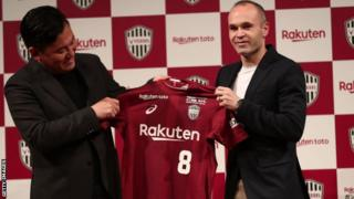 Iniesta was presented with his shirt by Vissel Kobe owner Hiroshi Mikitani