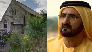 Godalming chapel and the Emir of Dubai (collage)