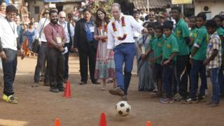 Prince William showed off his footy skills in the city of Mumbai, India