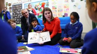 science Jo Swinson with pupils at Trumpington Park Primary School in Cambridge