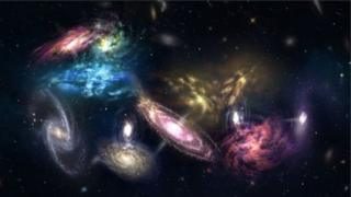 An artist's impression of the 14 galaxies detected