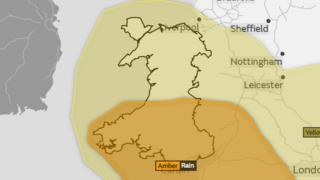 A picture of Wales, with south Wales covered in an orange weather warning and north Wales covered in yellow