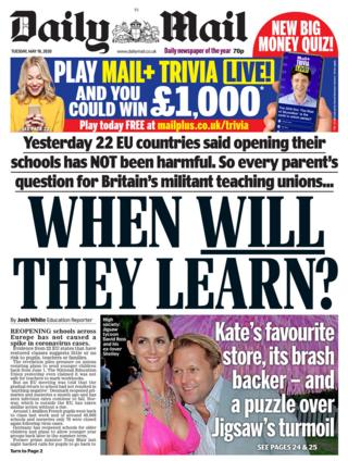 The Daily Mail front page 19/05/20