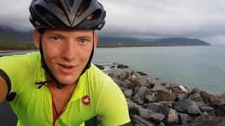 Charlie Condell on his bike in Australia