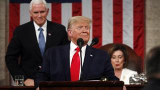 US President Donald Trump arrives to deliver the State of the Union address