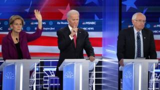 Elizabeth Warren, Joe Biden and Bernie Sanders during the debate